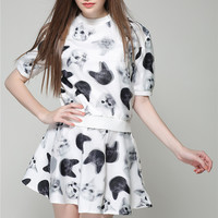 Cat Print Short Sleeve Top with A-line Mini Skater Skirt Set