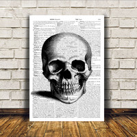 Anatomy art Human skull poster Dictionary print Modern decor RTA34