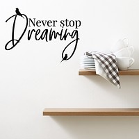 Vinyl Wall Decal Never Stop Dreaming Inspirational Phrase Birds Stickers Mural 22.5 in x 16 in gz200