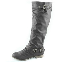 Top Moda Women's Knee High Riding Mid Calf Combat Boots,6 B(M) US,Grey