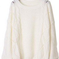 Sweet Twist Round Neck White Sweater  S005258