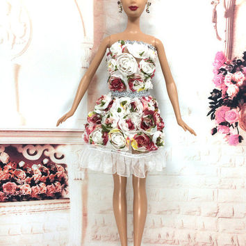 NK 2016 Newest Doll Dress Beautiful Handmade Party ClothesTop Fashion Dress For Barbie Noble Doll Best Child Girls'Gift 054A