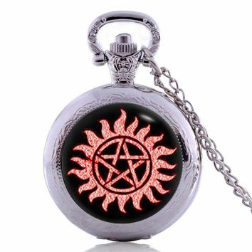 2017 New Design Supernatural Jewelry Cool Anti-possession Symbol Photo Glass Dome Pocket Watch Necklace
