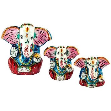 """Lord Ganesh Hand Painted Lacquer Statue - 1.75"""", 2"""", 2.75""""h (Set  of 3)"""