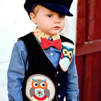 Boys Sunday Best Outfit - Vest, Bow Tie and Cargo Pants