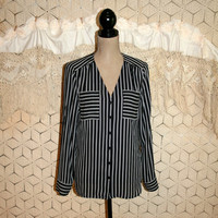 Stripe Blouse Long Sleeve Button Up Dressy Black White Suit Blouse Chiffon Blouse V Neck Vintage Women Tops Express Medium Womens Clothing