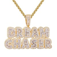 Custom Dream Chaser Baguette Icy layer Gold Tone  Pendant