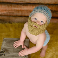 Baby Hat with a Beard - Bearded Beanie - Bearded Baby hat - bearded baby - photo prop - bearded hat - hat with beard - Halloween costume