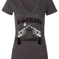Gray V Neck Locked And Loaded Short Sleeve Tee Shirt