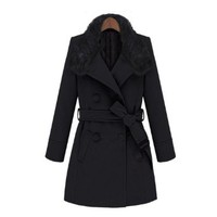 ZLYC Double Breasted Winter Coat with Fur Luxe Collar for Women