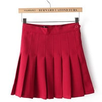 High Waist A-line Pleated Mini Skirt