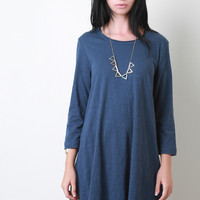 Distress Jersey Knit Tunic Dress