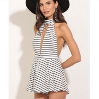 Striped pajamas backless condole belt connected