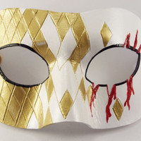 Masquerade Mask Bloody Slash Cosplay Costume Leather mask with carved diamonds mardi gras venetian steampunk assasin masked ball