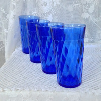 Hazel Atlas Cobalt Glass Tumblers, Set of Four 12 Ounce Diamond Quilt Optic Swirled Drinking Glasses, Soda Glasses, Vintage Kitchen