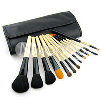 Wood Color 12 Pcs Cosmetic Brush Set With Black Leather Case -  Milanoo.com