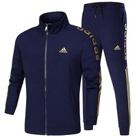 ADIDAS 2018 autumn and winter new men's casual sportswear jacket trousers two-piece Blue