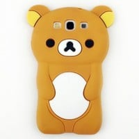 Evergreat Technology rilakkumabear 3d Tpu Soft Silicone Case Cover for Samsung Galaxy S3 I9300, Brown