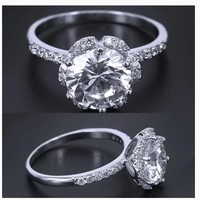 Big Silver Plated Carat CZ Crystal Engagement Ring