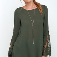 Watching the Waves Olive Green Long Sleeve Lace Top