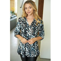 Sparks Fly Blue Leopard Print Button Up Top