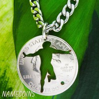 Soccer necklace, Men's athletic jewelry,  or key chain, hand cut coin