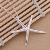Large Whimsical Starfish Pendant Silver Necklace