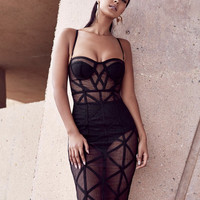 Iretta Black Bandage & Sheer Mesh STRAPLESS DRESS