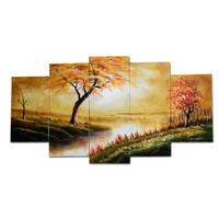 Golden Forest and Stream Landscape Canvas Wall Art Oil Painting