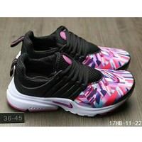 Tagre™ Nike Air Presto casual men and women sports running tide shoes F-HAOXIE-ADXJ Black + printing toe