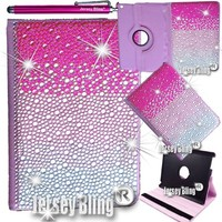 """BLING! iPad Mini PINK Jersey Bling Crystal & Rhinestone Faux Leather Folio 360 Rotating Case Cover Combo with FREE 4"""" Stylus (Pink Fade)"""