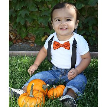 Halloween Outfits for Baby Boys Pumpkin Bow Tie and Suspenders