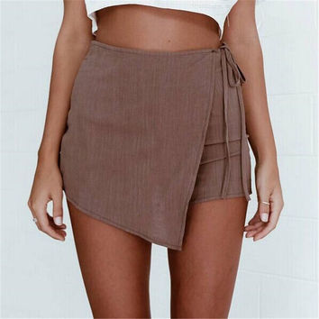 Women's Fashion Summer Irregular Bandages Pants Skirt [10360658822]