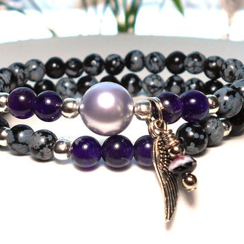 Amethyst Bracelet with Angel Wing Charm
