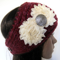 Burgandy Multi Knit Ear Warmer Head Wrap Headband Winter Hat Accessories with Ivory Chiffon Flowers and Silver Accent