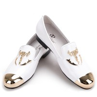 New Metal Skull buckle  Patent leather casual shoes