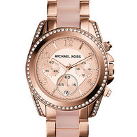 Michael Kors Women's Chronograph Blair Blush and Rose Gold-Tone Stainless Steel Bracelet Watch 39mm MK5943