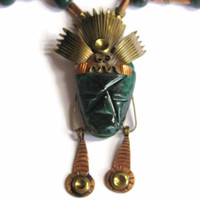 Mexican Aztec Shaman Mask Necklace Brass Copper Green Alabaster