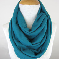 Large Teal Infinity Scarf - Turquoise Cowl - Oversized Blue Green Circle Scarf