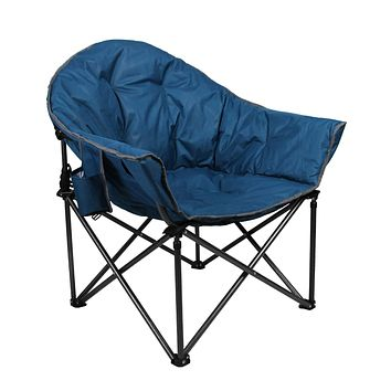 ALPHA CAMP Oversized Camping Chairs Padded Moon Round Chair Saucer Recliner Supports 350 lbs with Folding Cup Holder and Carry Bag Faience