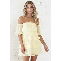 Ruffled Feathers Yellow Off The Shoulders Dress