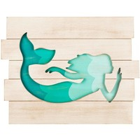 Mermaid Cut-Out Wood Wall Decor Sign