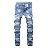 Men Cotton Slim Fit Ripped Straight Jeans
