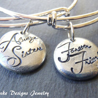 sister bracelet SET of TWO sister gift forever sisters jewelry