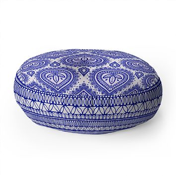 Aimee St Hill Decorative Blue Floor Pillow Round