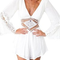 Creabygirls Women Sexy Chiffon Crochet Romper Backless Long Sleeve Jumpsuit White