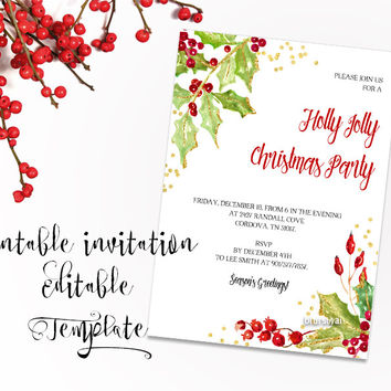 """Printable Christmas party invitation template for Word, in 5x7"""" featuring holly leaves and berries"""