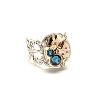 Steampunk Ring Steampunk Jewelry Waltham Watch Ring Montana Blue Teal Blue Silver Ring Victorian Steam Punk Jewelry Victorian Curiosities