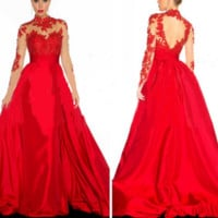 FASHION LONG RED CUTE WEDDING DRESS