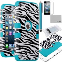 Pandamimi ULAK(TM) Hard Impact Armor Hybrid Rubberize Zebra Case Cover with Blue Silicone Inner Soft Shell for Apple iPod Touch 5 5th + Stylus and Screen Protector (cleaning cloth with ULAK Logo)